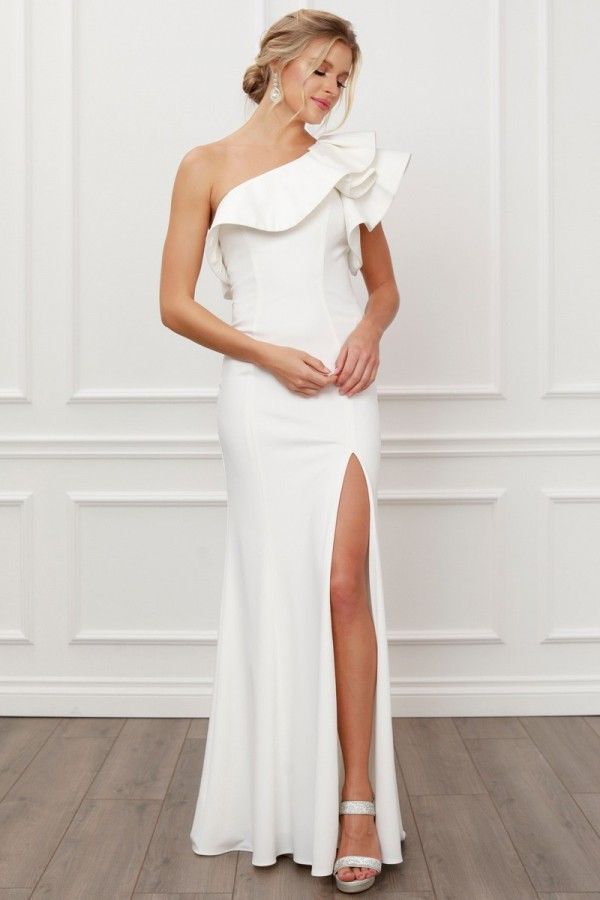 E467-W-SOLID<br/>One Shoulder Solid Ruffle Shoulder Gown