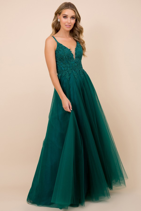 R357<br/>A line Prom dress with Lace and Jewel