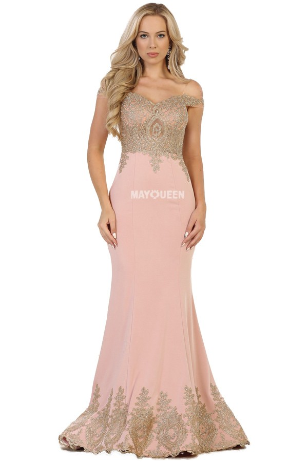 RQ7586<br/>Golden Embroidery Trumpet Gown